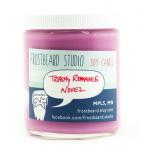 pink floral candle - trashy romance novel