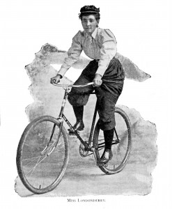 Illustration of Londonderry on a bicycle with split trousers - voluminous about the hips however