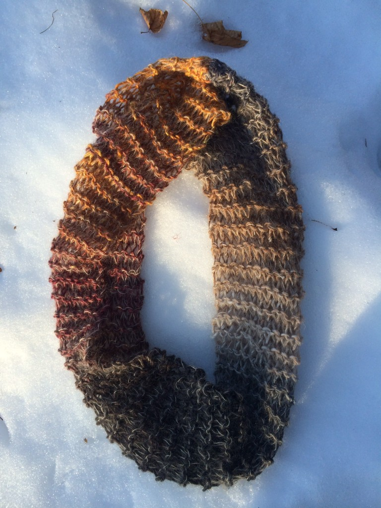 Elyse's lacy cowl on the snow