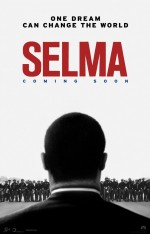 Selma Movie Poster: Silhouette of MKL jr's head and shoulders against a white sky