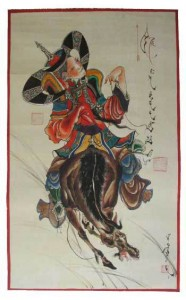 watercolor of a Mongol queen on a horse