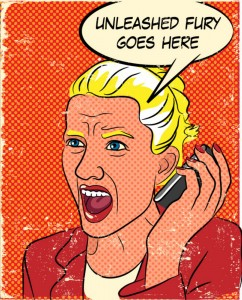 Book Rant - Angry woman yelling into a cell phone with text that reads Unleashed Rage Goes Here