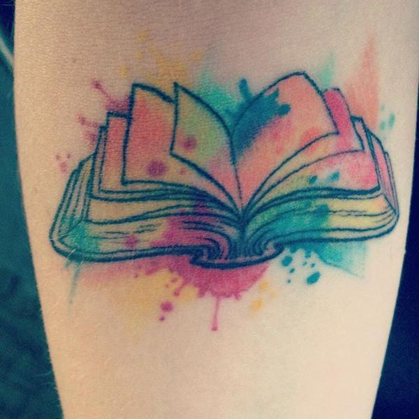romance readers literary tattoos smart bitches trashy books rh smartbitchestrashybooks com open book watercolor tattoo open book watercolor tattoo
