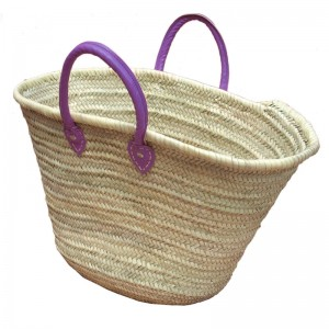 Market basket with purple leather handles