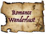 Romance Wanderlust - a yellowed and burnt edge map with a compass in the corner, with Romance Wanderlust written across it