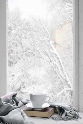 Cozy winter still life: cup of hot coffee and book with warm plaid on windowsill against snow landscape from outside.