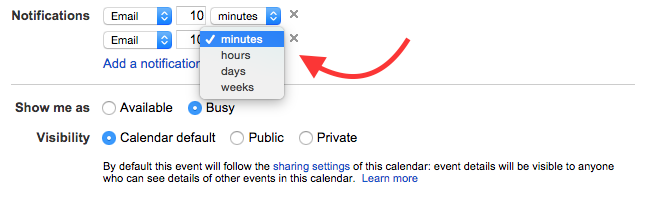 Close up of Google:Cal Notifications area, where you can assign an email message X number of days or hours in advance.