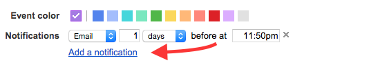 "Google:Cal notification menu with a red arrow pointed at ""Add a notification"""