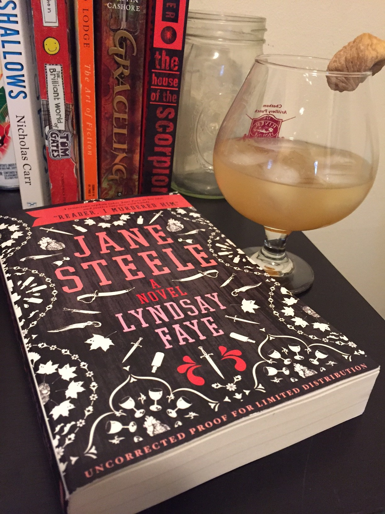 A copy of Jane Steele by Lyndsay Faye with The Jane Steele drink