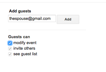 Add guests with Guests Can Modify Event checked