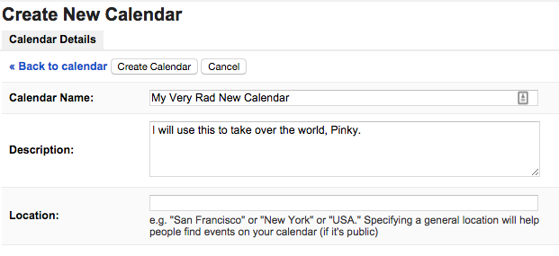 Create new calender - my super rad new calendar with description to take over the world, Pinky