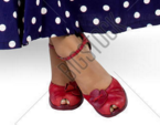 Red ankle strap heels with a peep toe. Gorgeous with the blue polka dots.