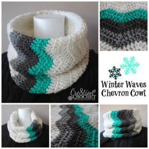 Winter Waves Chevron Cowl, a white neck warmer with a chevron V pattern in minty teal blue, black and grey across one side top to bottom
