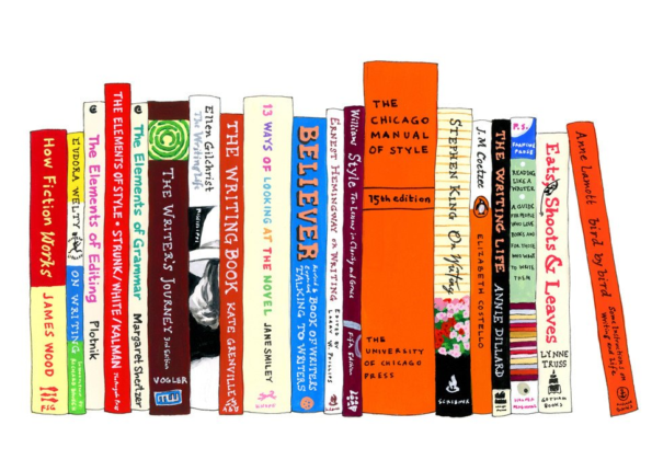 A hand drawn illustration of grammar and editing books such as Elements of Style, Eudora Welty on writing, chicago manual of style, eats shoots and leaves and many others