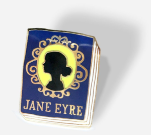 Jane Eyre silhouette drawn on book cover made into an enamel pin