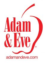 Adam and Eve logo in the color red with the shape of an apple in the background