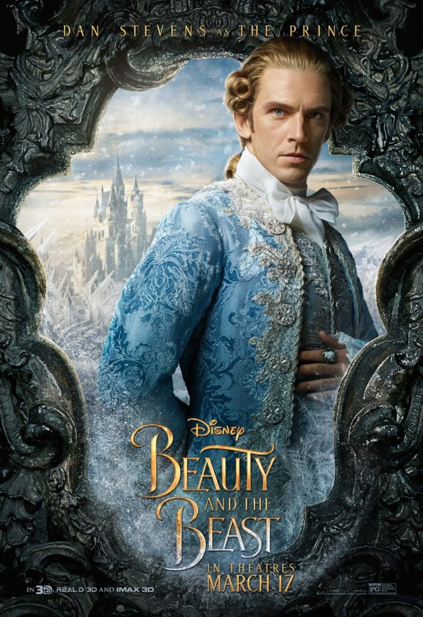 Promotional poster for Dan Stevens as The Prince wearing ice blue brocade with silver embellishments and two fat hot dog sized curls of hair at his temples looking serious and also completely ridiculous