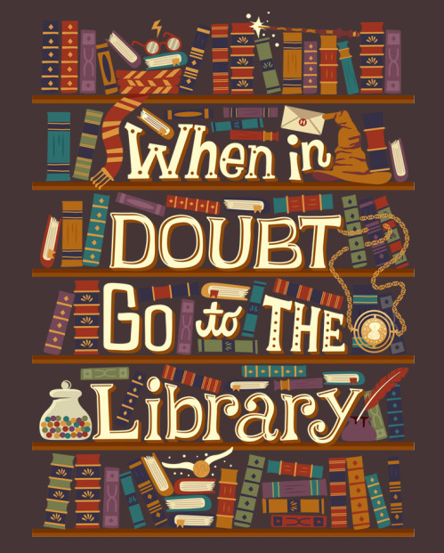 """A t-shirt with a bookshelf and the caption, """"When in doubt, go to the library."""""""
