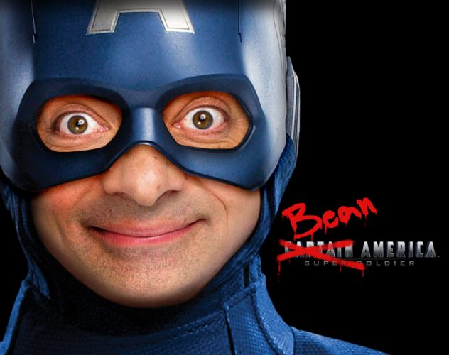 Mr. Bean wearing a Captain American costume