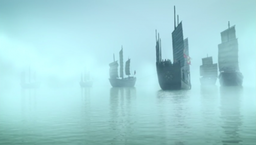 A fleet of ships in fog