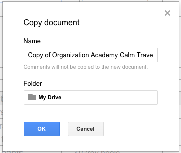Make a Copy - copy document name and location, then OK button and cancel