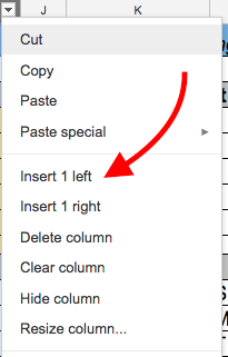 Arrow pointing at Insert 1 Left menu option to add column to spreadsheet