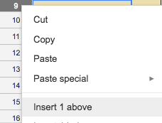 Right click menu for spread sheet row, with Insert 1 Above showing
