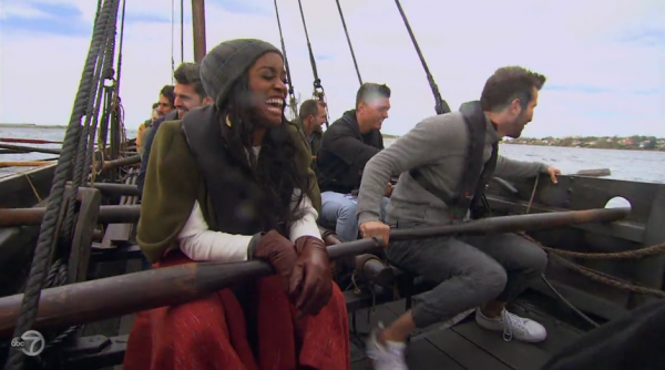 Rachel and the dudes row a viking longship.
