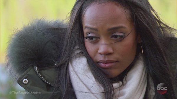 A close up of Rachel's face. She looks dismayed.