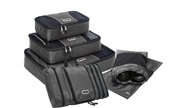 ebags toiletry kit, shoe bags and packing cubes in titanium grey