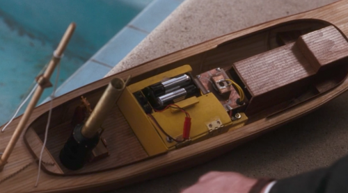 A motorized toy boat