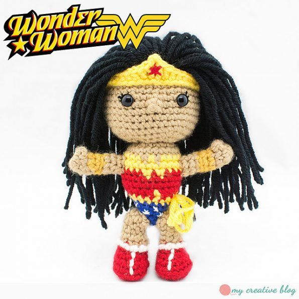 A small crocheted Wonder Woman doll.