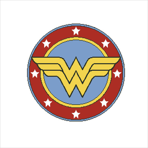 The wonder woman logo in a round shield. The interior of the shield is blue and the edge is red with white stars.