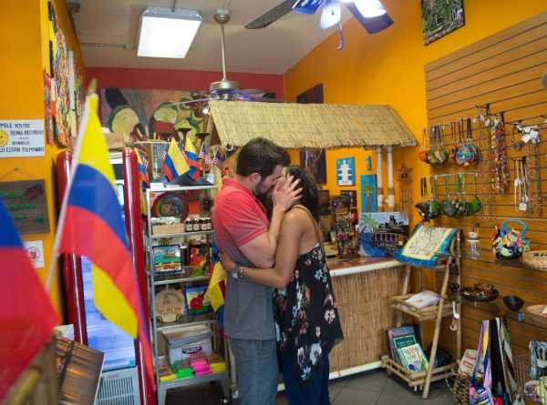 Bryan and Rachel kiss in a shop. He does this thing where he holds her face really tightly and it weirds me out.