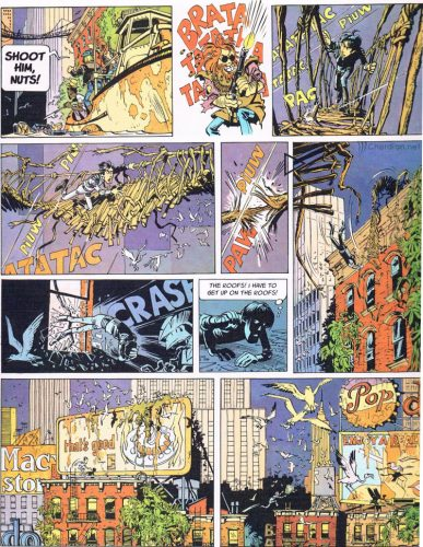 page from Valerian showing an overgrown New York City