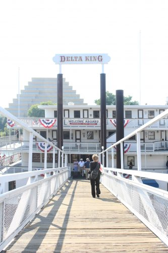 Walking down the gangplank to the Delta King