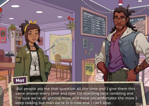 Mat in his coffee shop in all his rambling, awkward glory