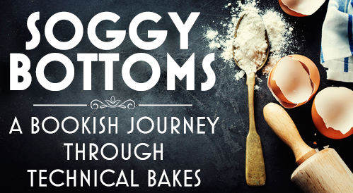 Soggy Bottoms - a Bookish Journey through Technical Bakes with a floury spoon, a rolling pin, and eggshells on a slate background