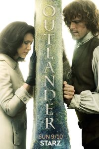 outlander season 3 with claire and jamie on either sides of a stone