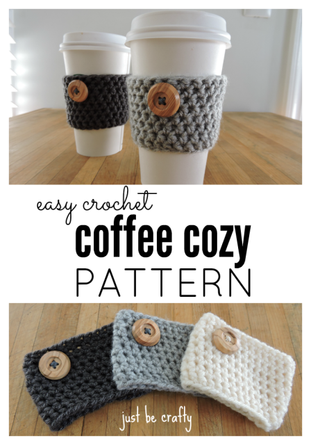 On the top two Starbuck-sy looking cups sit on a table with gray and black cozies around the middle. Beneath that are three cozies in nuetral tones laid out on a table.
