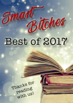Smart Bitches Best of 2017 with glitter and a stack of old books with Thanks for reading with us! written beneath