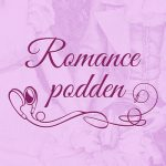 Romance Podden in pink script on a pink marble background