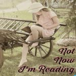 "Not Now I""m reading a vintage photograph of a girl in a pink shirt dress and a floppy hat in some kind of a wagon reading a book"