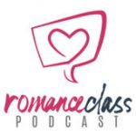 Romance Class podcast with a pink heart inside a text bubble drawn on a white background