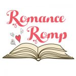 Romance Romp in pink above a illustration of a book