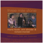Three Mile Stone album cover featuring three musicians and a burgundy and orange background