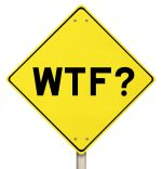 A yellow street sign that says WTF?