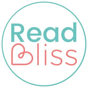 Read Bliss logo, teal READ in bold and Bliss with a B made from a heart -it's adorable