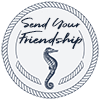 Send Your Friendship logo a circle of twisted rope with a seahorse inside beneath the words Send Your Friendship