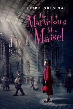 marvelous mrs maisel poster she's in a red coat in alargely black and white background wit h the light from Grand Central's ceiling isolating her in a beam
